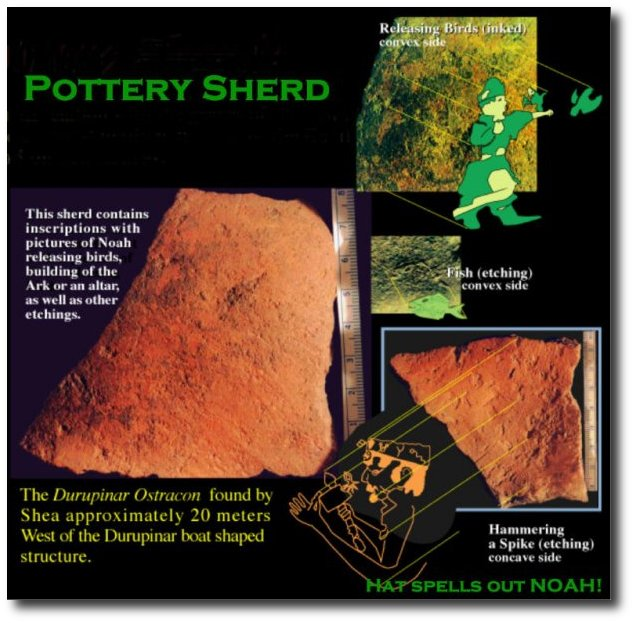 POTERY SHARD FOUND 20 METERS FROM ARK SITE WHICH HAS A NAME ON IT NOAH