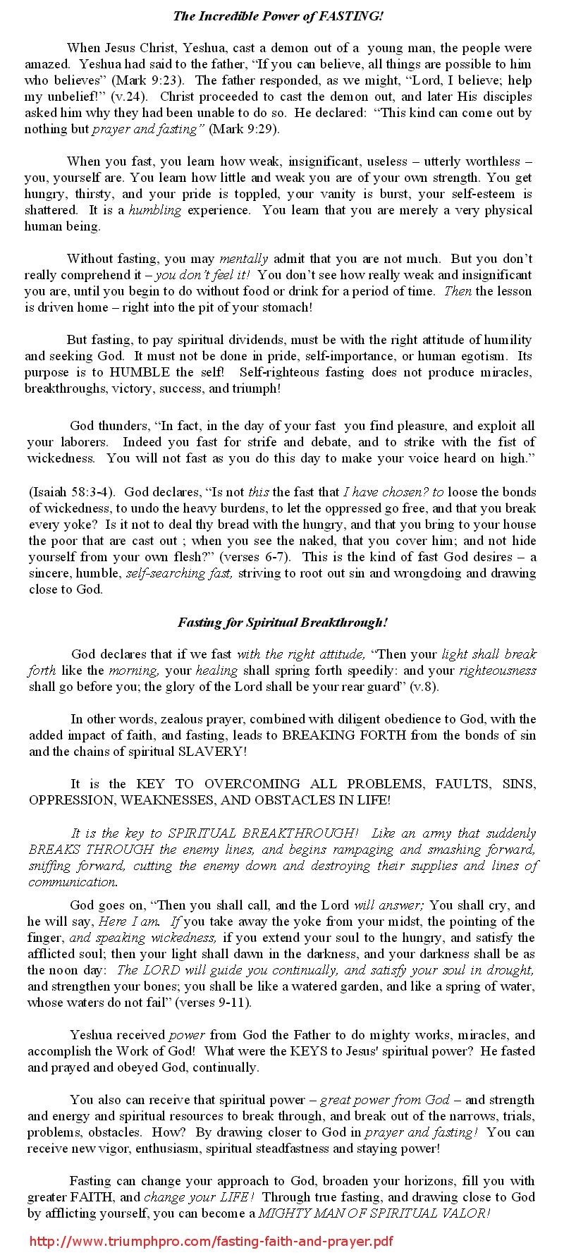 Breakthrough of Prayer Fasting and Faith
