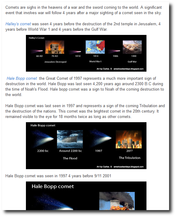 Comets a 4 year Sign of War the Sword to the world - America's Last Days Blog