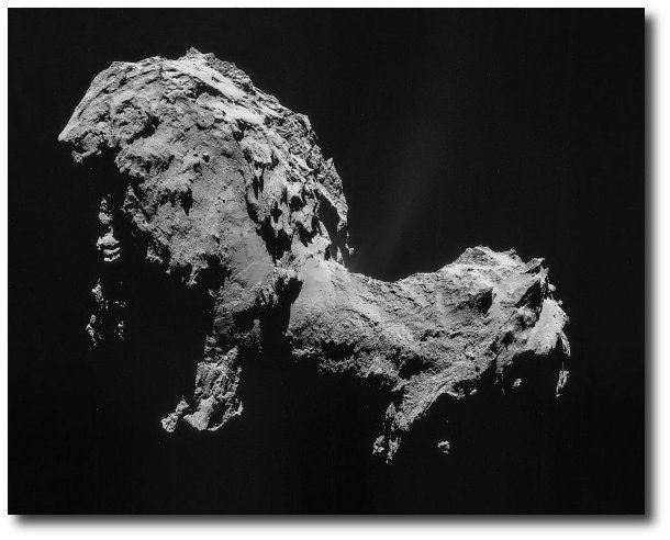 Greyscale photograph of Comet Churyumov–Gerasimenko taken by the Rosetta spacecraft