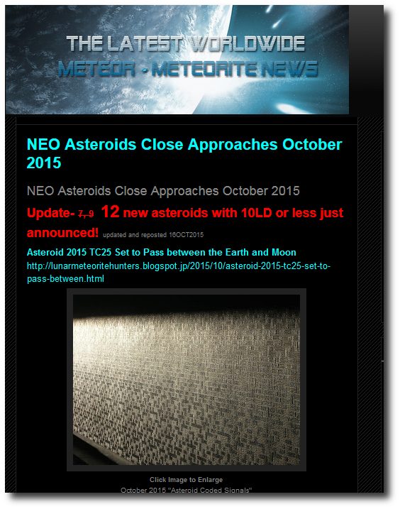Latest Meteor And Asteroid Sightings