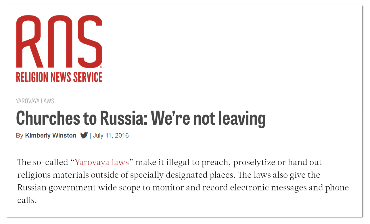 Churches to russia- We Are Not Leaving
