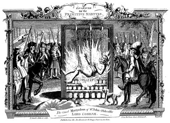 Cruel burning of Sir John Oldcastle from Foxe's Book of Christian Martyrs.